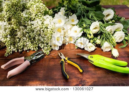 Gardening Tools, Plants And Soil On Vintage Wooden Table. Spring In The Garden Concept Background Wi