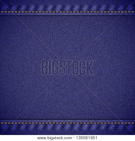 Realistic jeans texture in deep blue colors with seams and thread stitches. Denim pattern background. Vector illustration