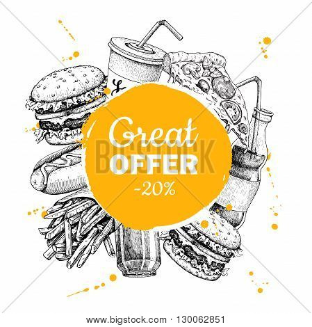 Vector vintage fast food special offer. Hand drawn Junk food circle frame illustration. Soda hot dog pizza burger and french fries drawing. Label, menu, poster, banne,r voucher , coupon