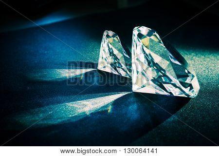 Two Large Diamonds. Diamond Jewelry Theme. Luxury theme.