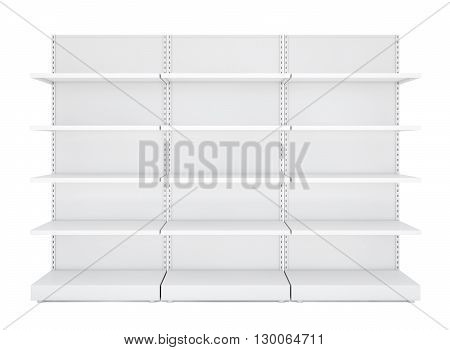 Three white blank empty retail shelves. Front View. Isolated on white background. Template for business or web design. 3D illustration