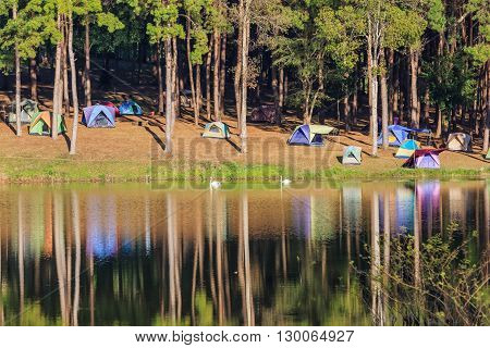 Camping Site Beside The Lake
