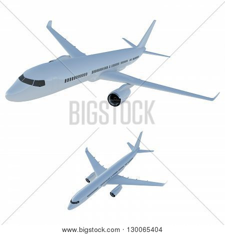 Airliner set of two aircraft. Commercial flights in airplanes. Tourist and business flights by plane. Isolated aircraft fuselage on a white background. 3d model of civil aviation.