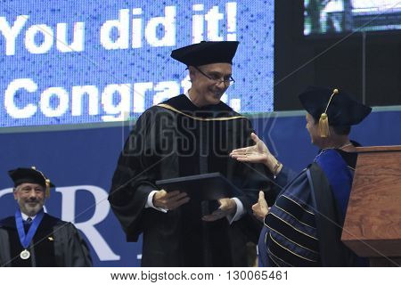 FLAGSTAFF, ARIZONA, MAY 13. Northern Arizona University on May 13, 2016, in Flagstaff, Arizona. An Honorary Doctoral Degree is bestowed upon David J. Mangelsdorf for his work in Pharmacology at the Northern Arizona University Commencement 2016.