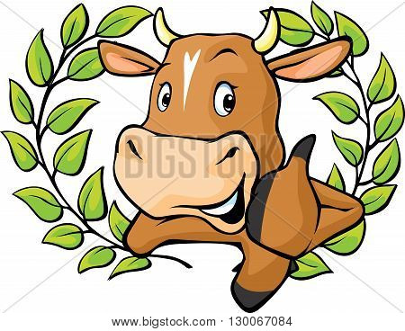 Funny cow peeks out from behind a white surface - vector cartoon illustration.