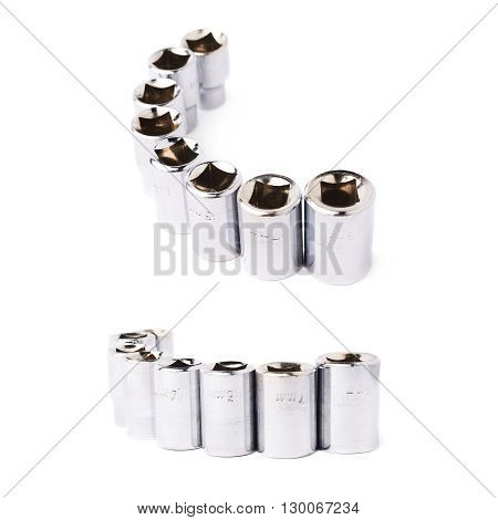 Set of line of metal hex socket of spanner over isolated white background, different foreshortenings