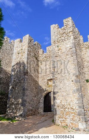 Entrance of the medieval Sesimbra castle, Portugal.