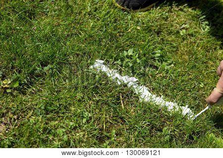 Referee Spraying Vanishing Spray On The Turf, Closeup