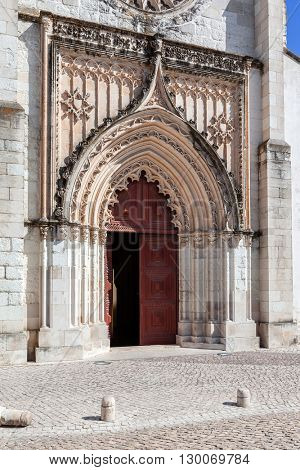 Flamboyant Gothic Portal of the Santo Agostinho da Graca church. 14th and 15th century Mendicant and Flamboyant Gothic Architecture. Santarem, Portugal.
