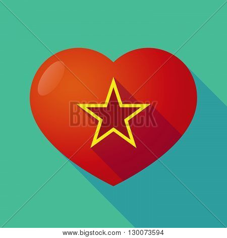 Long Shadow Red Heart With  The Red Star Of Communism Icon