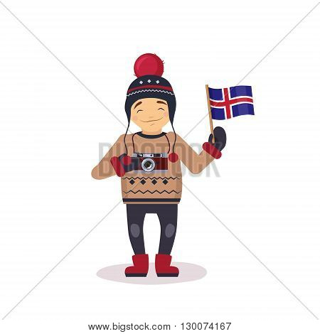 Photographer With The Flag Of Iceland Flat Bright Color Simplified Vector Illustration In Fun Cartoon Style Design