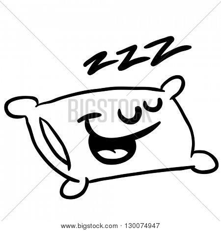 black and white sleepy pillow cartoon illustration