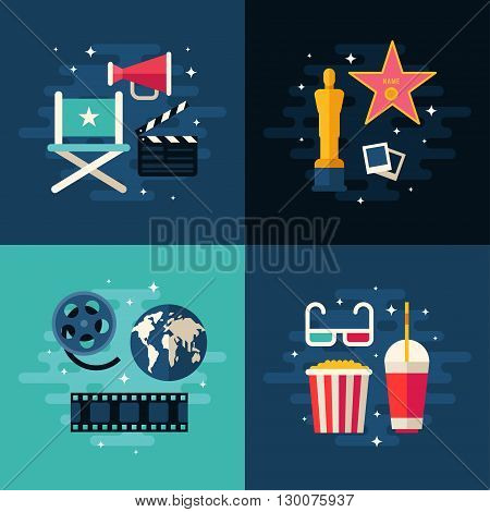 Set of Movie Concept Flat Style Vector Illustrations. Movie Making Cinematic Award Global Premiere Movie Theater