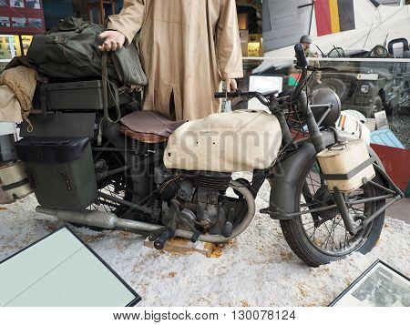 antique miitary motorcycle World War II in Royal Museum of the Armed Forces and Military History Cinquantenaire Park in .Brussels Belgium