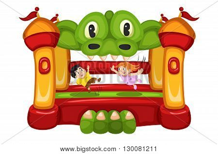 A vector illustration of happy kids playing in a bouncy house