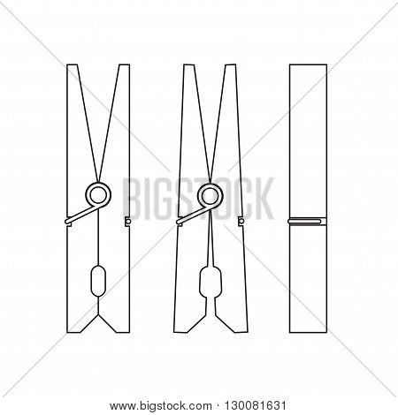 Pin. Circuit clothespins closed and open. Icons clothespin-style line. Vector illustration. Clothespin from different sides. Vector illustration.