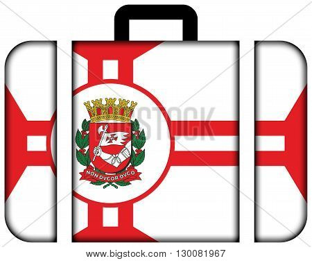 Flag Of Sao Paulo City. Suitcase Icon, Travel And Transportation Concept