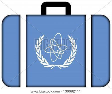 Flag Of The International Atomic Energy Agency (iaea). Suitcase Icon, Travel And Transportation Conc