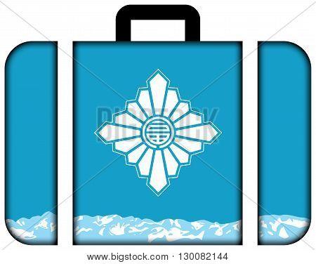 Flag Of Toyama, Japan. Suitcase Icon, Travel And Transportation Concept