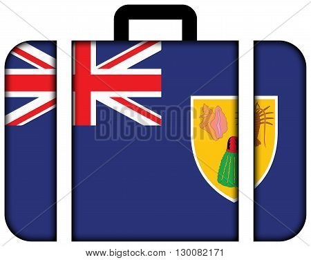 Flag Of Turks And Caicos Islands. Suitcase Icon, Travel And Transportation Concept
