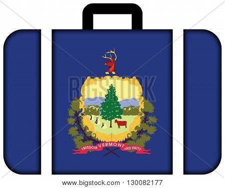 Flag Of Vermont State. Suitcase Icon, Travel And Transportation Concept