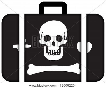 Stede Bonnet Pirate Flag. Suitcase Icon, Travel And Transportation Concept