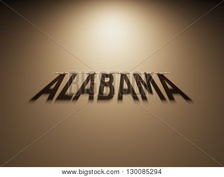 A 3D Rendering of the Shadow of an upside down text that reads Alabama.