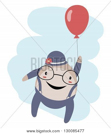 Humpty Dumpty with balloon over blue sky isolated on white background
