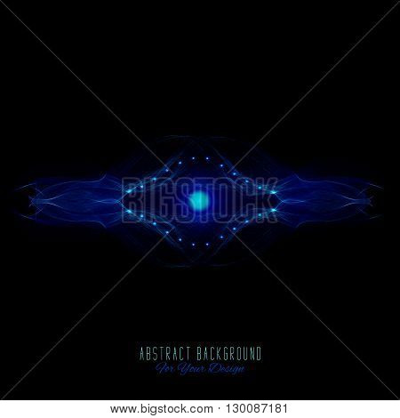 Abstract vector background. Futuristic style card. Abstract alien organism or cell. Black and blue color