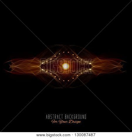 Abstract vector background. Futuristic style card. Abstract alien organism or cell. Black and orange color