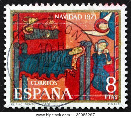 SPAIN - CIRCA 1971: a stamp printed in the Spain shows Sagas Altarpiece Nativity circa 1971