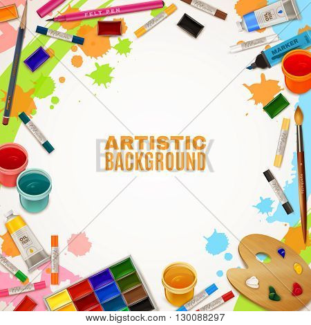 Artistic background with white empty place for text in center and decorative elements around representing art supplies for paintings vector illustration