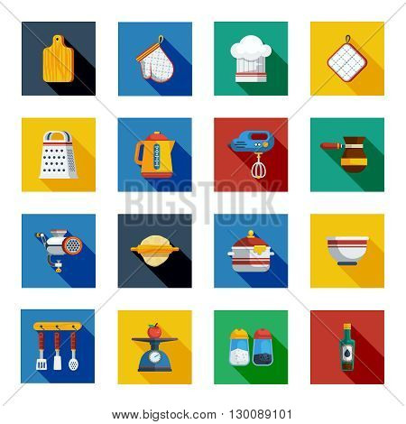 Cooking Shadow Icons Set. Kitchen Square Elements. Cooking Vector Illustration. Kitchen Flat Symbols. Cooking Design Set. Kitchen Objects Collection.
