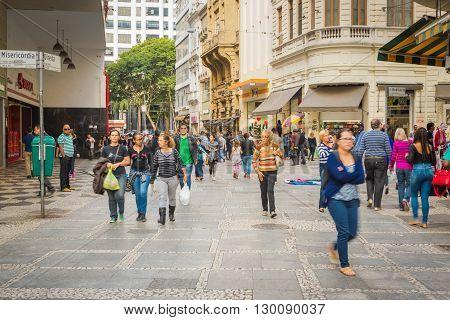 Sao Paulo - April 30, 2016 -  Corner At Misericordia Street And Direita Street In Downtown In The Ci
