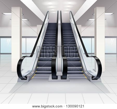 Up and down escalators inside building concept realistic vector illustration