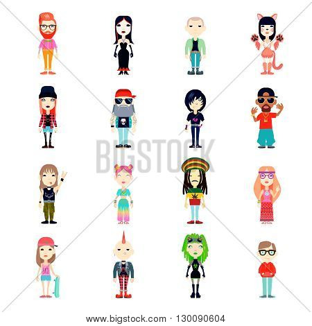 Subcultures Icons Set. Subcultures Vector Illustration. Subcultures People Flat Symbols.Subcultures  Design Set. Subcultures Isolated Set.