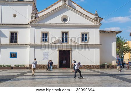 Sao Paulo - April 30, 2016 - Pateo Do Colegio, Historic Simbol Located In Downtown In The City Of Sa