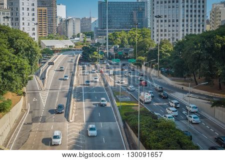 Sao Paulo - APRIL 30 2016 - Viaduto do Cha viaduct in Downtown in the city of Sao Paulo traffic and movement.