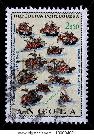 ZAGREB, CROATIA - JUNE 25: a stamp printed in the Angola shows Fleet of P. A. Cabral, Explorer, 500th Anniversary of the Birth of Pedro Cabral, circa 1968, on June 25, 2014, Zagreb, Croatia