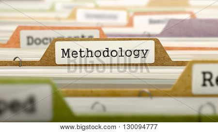 Methodology on Business Folder in Multicolor Card Index. Closeup View. Blurred Image. 3D Render.