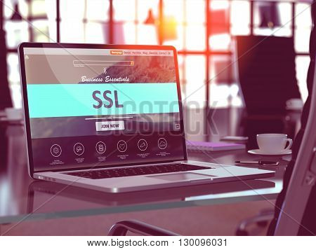 SSL - Socket Layer Security - Concept - Closeup on Laptop Screen in Modern Office Workplace. Toned Image with Selective Focus. 3D Render.