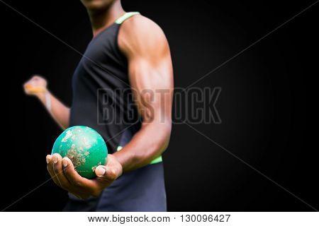 Focus on man holding hammer