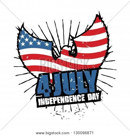 Independence Day America. Symbol Of Countrys Eagle With Wings And Usa Flag In Grunge Style. American