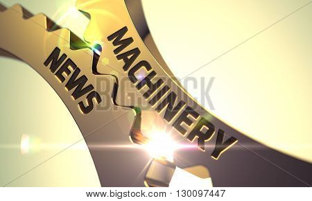 Machinery News - Industrial Design. Machinery News on the Mechanism of Golden Metallic Gears with Lens Flare. Machinery News on the Mechanism of Golden Metallic Cog Gears with Glow Effect. 3D.