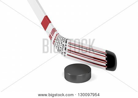 Ice hockey stick and puck on white background, 3D illustration