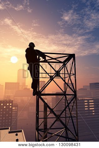 Silhouette of the worker on the rig.3d rende