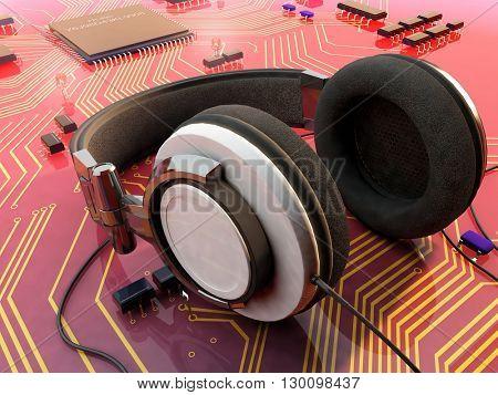 Headphones on a microtiter plate.3d render