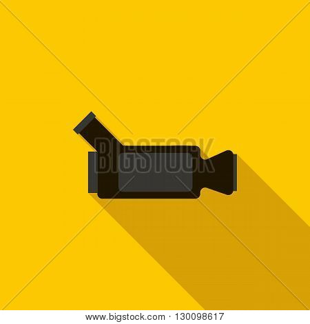 Video camera icon in flat style with long shadow. Videorecording symbol