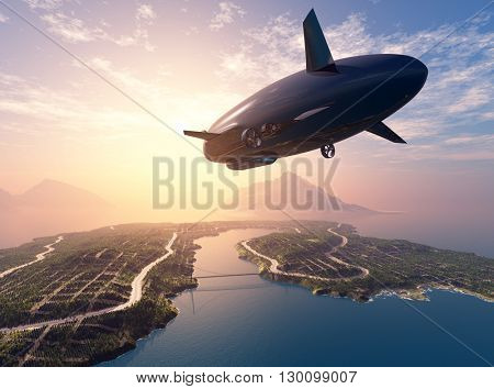 Airship over the island in the sea.  3d render