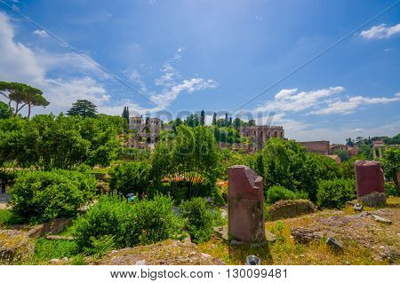 ROME, ITALY - JUNE 13, 2015: Great view from hill to Roman Forum, ancient little city near Roman Coliseum. Sunny day